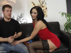 Anne Angel's ex boyfriend came to demonstrate her the difference between real dick and dildo