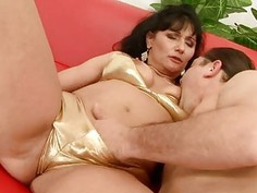 Lusty mature rides with a pleasure