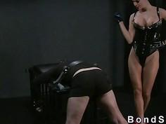 Bent over slave bdsm femdom spanked