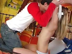 Skinny Cindy drilled by by friend