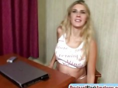 Cock hungry pregnant amateur blonde chick takes on two hard cocks