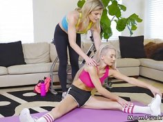 Mom and teen fuck big cock after workout