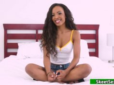 Demi Sutra shooting her first porn vid
