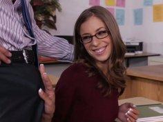 Shy student Presley Hart sucks her professor's cock