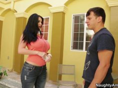 Brunette Sophie Dee iwth big boobs seduces a man near the pool