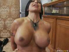Full-bosomed Jewels Jade gives a head to Keiran Lee and gets poked hard from behind