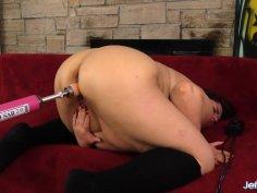 Fat Brunette Danni Dawson Drilled by a Dildo Machine After Blowing It