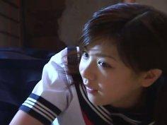 Cute Japanese teen Aki Hoshino loves sports and orange panties