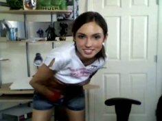 Sassy girl demonstrates her slim body to webcam stranger