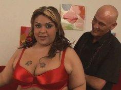 Seductive but fat as hell Tasha Starzz strips demonstrating her huge body