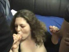 German BBW blows four cocks