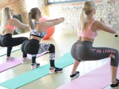 3 Stunning Yoga Bunnies poke each other's Bum