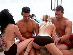 Horny babes have fun in Foursome mansion