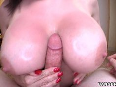 Diamond Foxxx provides a cock with a handjob and titfuck