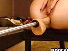 Blonde anal fucked by fuck machine