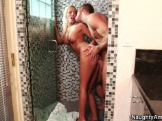 Filthy blonde woman Brooke Fox gets doggyfucked at the shower
