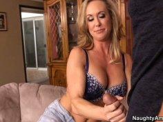 Seductive rubbing and blowjob from hot milf Brandi Love