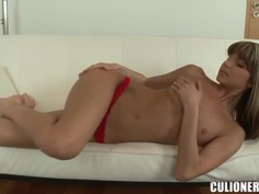Young Gina Gerson pretends to be shy girl