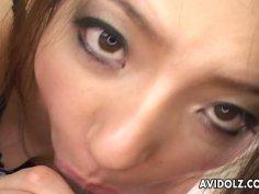 Black haired Japanese geisha Karura Anzai sucks a cock for sperm