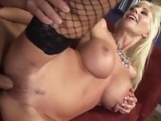 Busty Swedish MILF in fishnets gets plowed by a hunk