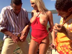 Tropical orgy with two men and sexy blonde Diana Gold