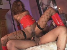 Appetizing chocolate babe Marie Luv fucked in her sweet asshole