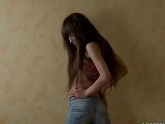 Hot girlfriend in jeans teasing