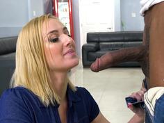 Kate England smoking e-cigarette and sucking big black cock