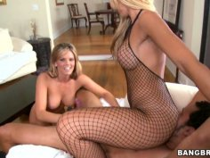Mackenzee Pierce and Jessica Lynn show off their fishnet outfits