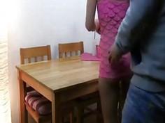 German teen fucked on the kitchen table