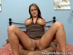 Hussy slut Trina Michaels with big boobs fucking fat black cock and sucking it hard