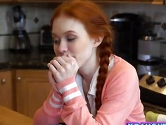 Redhead naughty teen works hard on his tutor dick