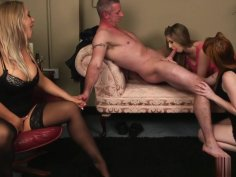 English ginger femdoms jerking sub in group
