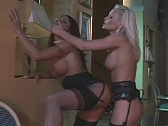Long legged European lesbians with strapon