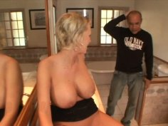 Busty blonde chick Carly Parker plays with herself in a bathroom and fucks a bald guy
