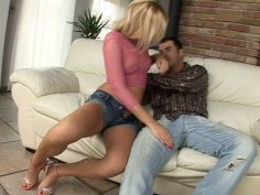 Sweet blond head in shorts Cherie prefers position 69