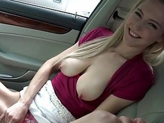 Busty hitchhiker Mila Evans facialized