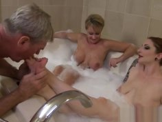 Double Bath feet worship and pissing on slave